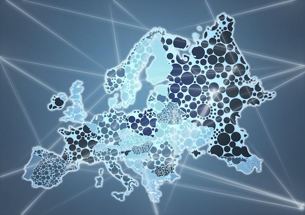 灰色のヨーロッパのカラーカントリーマップ