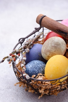 Color easter eggs painted with natural organic dye