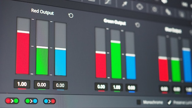 Color grading graph or rgb colour correction indicator on monitor in post production process.