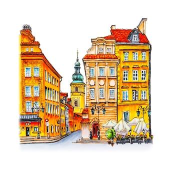 Цветной рисунок руки, замковая площадь, улица пивна и колокольня церкви святого мартина утром, старый город варшавы, польша. рисунок сделал лайнер и маркеры