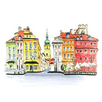 Цветной рисунок руки, замковая площадь, улица пивна и колокольня церкви святого мартина в старом городе варшавы, польша. рисунок сделал лайнер и маркеры