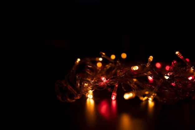 The color of the light flashes orange in the form of bokeh.
