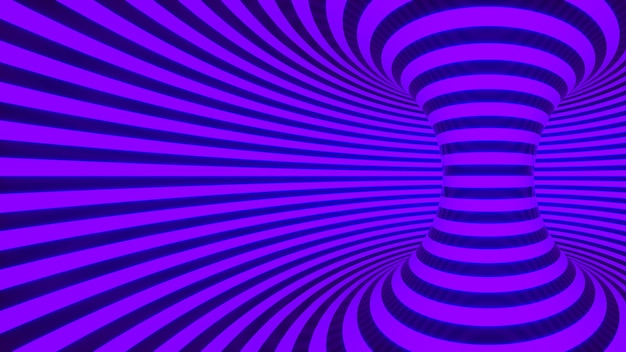 Color neon glowing twisted curved lines forming torus horizontal