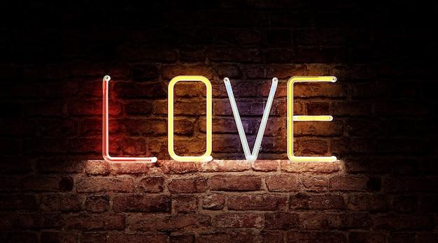 벽돌 벽에 사랑 사인 보드 기호의 색상 네온 빛