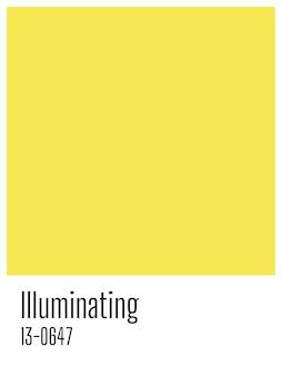 Pantone 2021이 빛나는 올해의 색상. 복사 공간 노란색 빈 카드