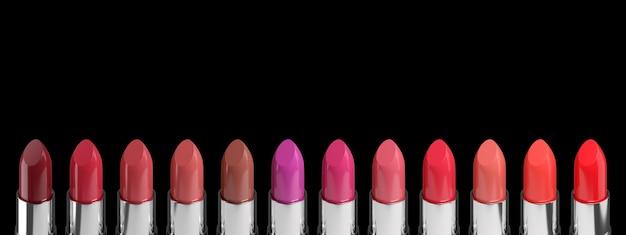 블랙에 고립 된 다양 한 립스틱의 색상 팔레트입니다.