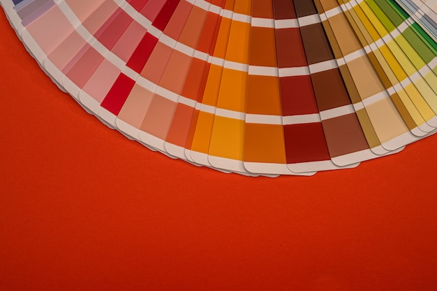 Color palette samples isolated on red background, design concept