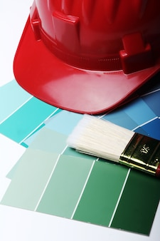 Color pallete and hard hat