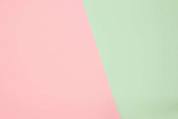 Color papers geometry flat composition background with pink and green pastel tones