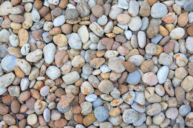 Color pebble stone on ground for texture background.