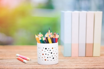 Color pencils in the box on the table