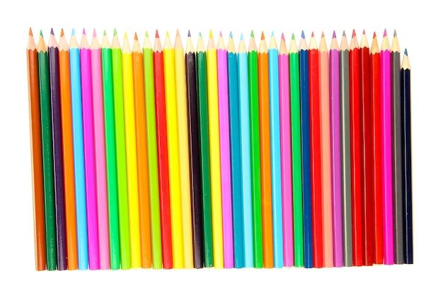 컬러 연필 흰색 절연
