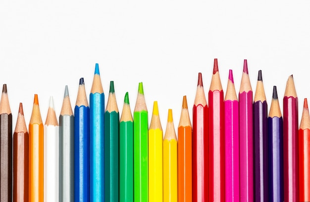 Color pencils isolated on white background.close up. back to school concept.
