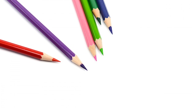 Color pencils isolated on white background - close up