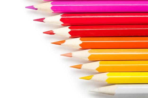 白い背景の色鉛筆