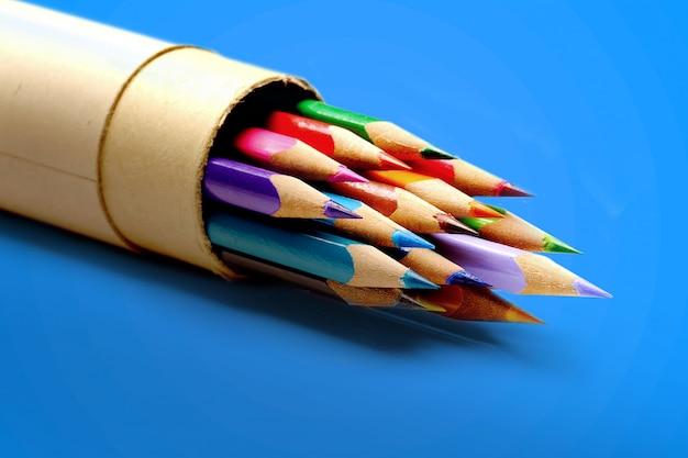 Color pencils in vibrant color