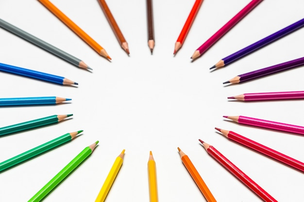 Color pencils on white background.close up. back to school concept.