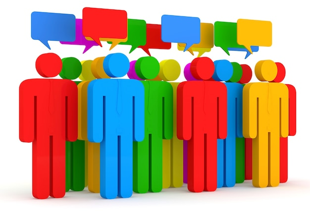Color people with chat board on white background