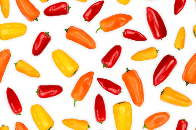 Color peppers isolated on white background. food seamless pattern. high quality photo