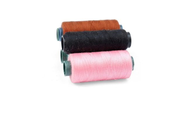Color sewing thread isolated on a white background