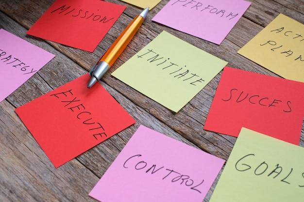 회사 설립을 위한 계획 및 전략이 포함된 컬러 시트