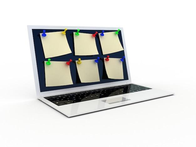 Цветная канцелярская кнопка и ноутбук на белом, 3d