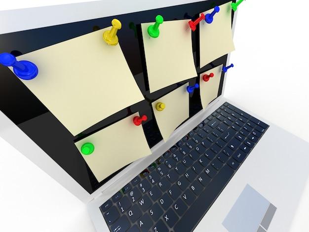 흰색, 3d에 컬러 압정과 노트북