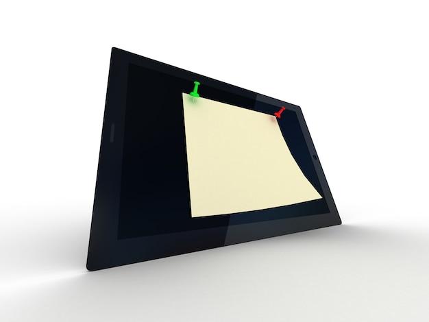 흰색, 3d에 컬러 압정 및 태블릿 컴퓨터