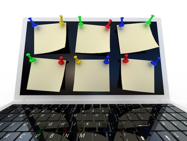 Color  thumbtack and laptop on white, 3d