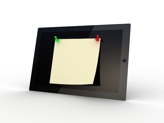 Color  thumbtack and tablet computer on white, 3d