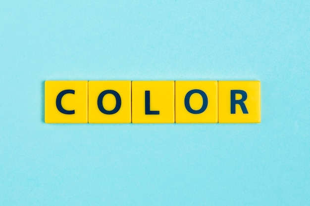 Color word on scrabble tiles