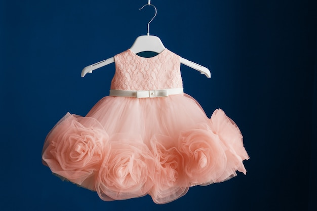 Color of the year 2020 - classic blue. color of the year 2019 - living coral. elegant children's dress