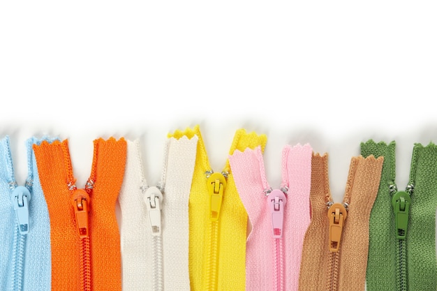 Color zippers isolated on white