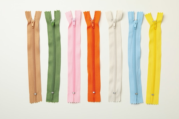 Color zippers on white