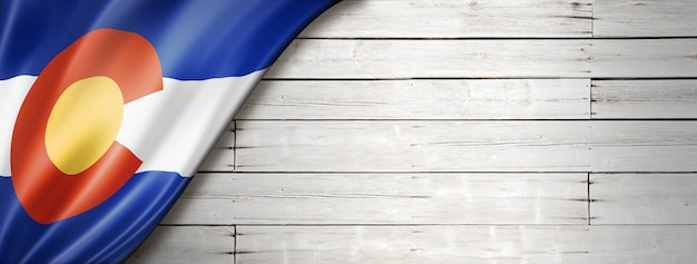 Colorado flag on white wood wall banner, usa. 3d illustration