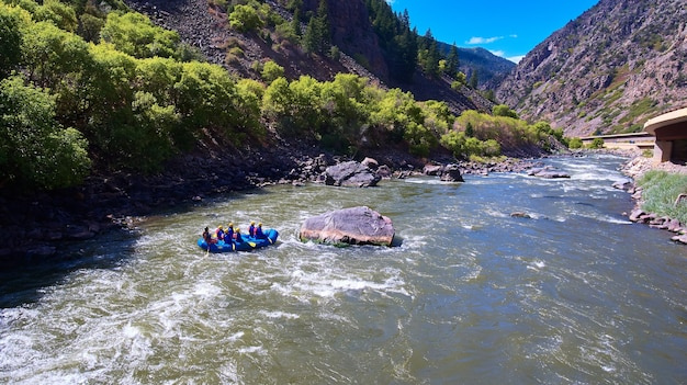 Colorado river water rafting in mountains