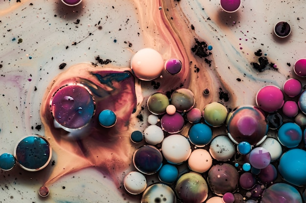 Colored abstract background.ink bubbles in water. abstract colorful paint. macro photo
