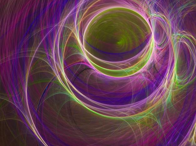 黒の背景に色付きの抽象的な曲線