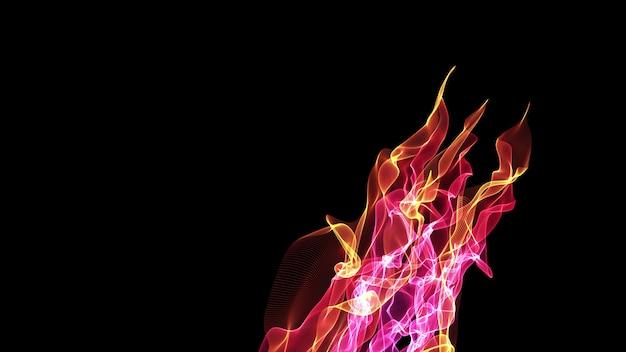 Цветной абстрактный огонь на черном фоне минималистичный фон