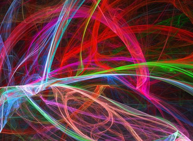 黒の背景に色付きの抽象的な丸い曲線と線