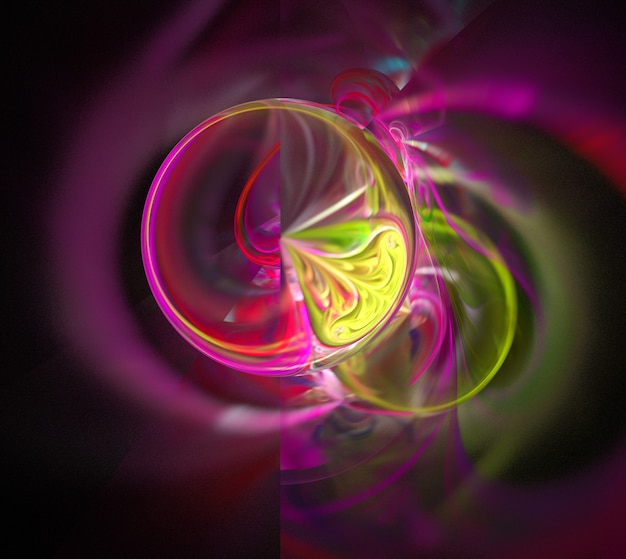 Цветные абстрактные круглые кривые и линии на черном фоне