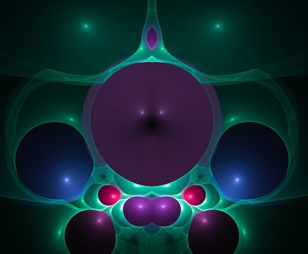 색깔의 추상 둥근 곡선과 검은 배경에 선