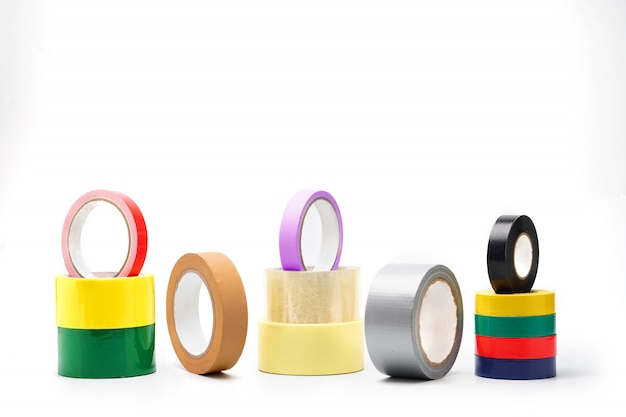Colored adhesive tape, tape isolates, glues, accessory for home repair and at work building repair tool.