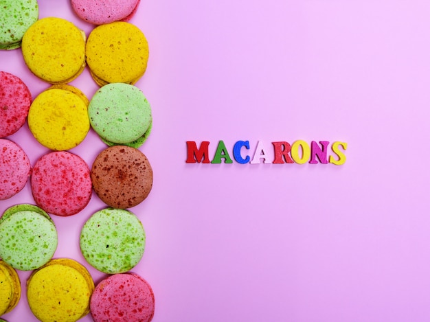 Colored almond cookies macarons
