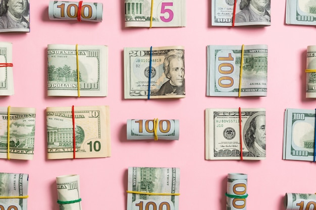Colored background with money american hundred dollar bills