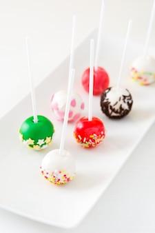 Colored cake pops
