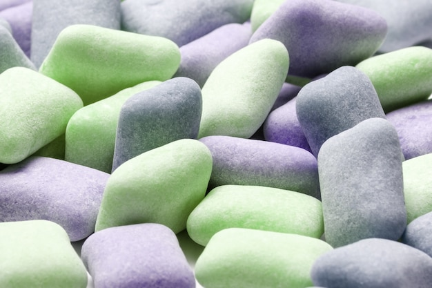 Colored chewing gum background close up