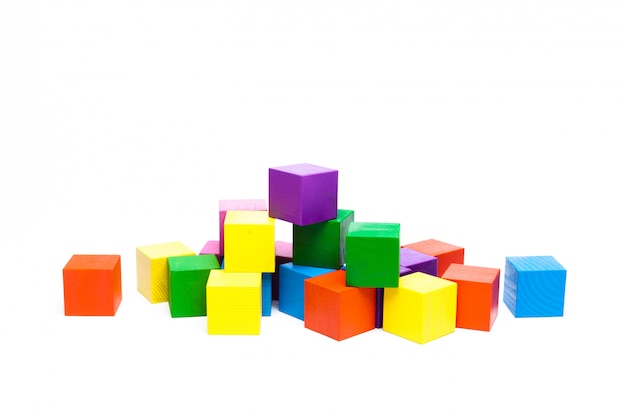 Colored children cubes on  white isolated