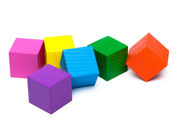 Colored children cubes on white