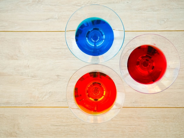 Colored cocktails, martinis